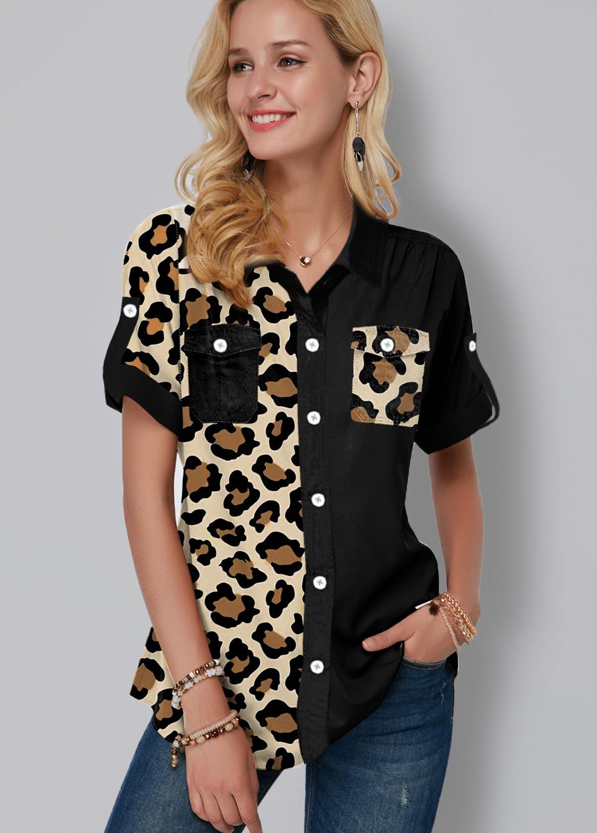 ROTITA Leopard Print Chest Pocket Button Up Blouse