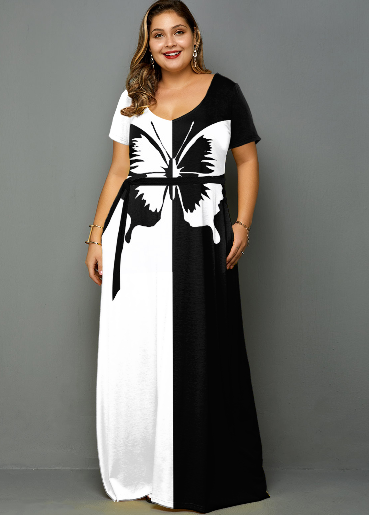 ROTITA Plus Size Color Block Belted Butterfly Print Dress