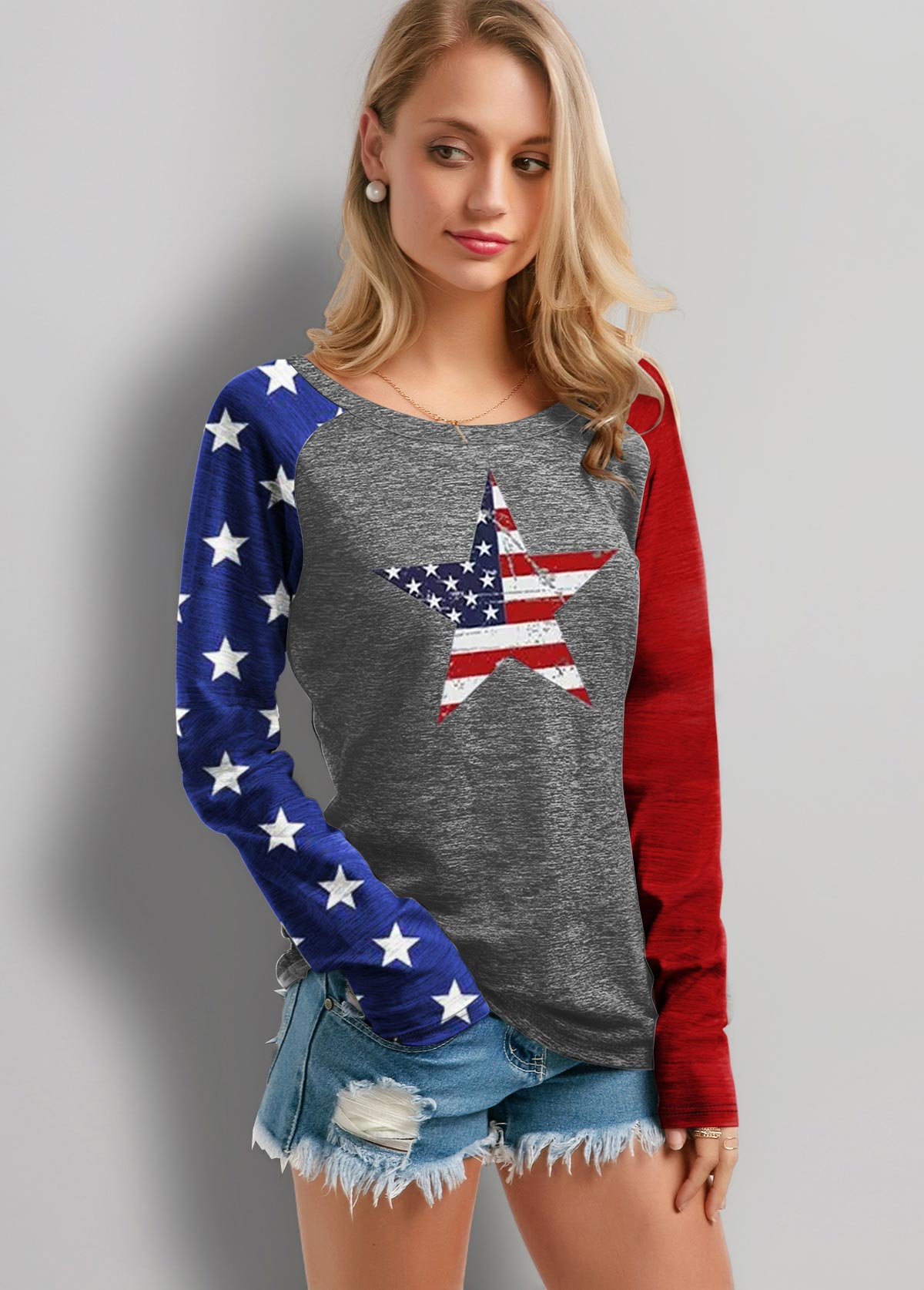 ROTITA Round Neck American Flag Print T Shirt