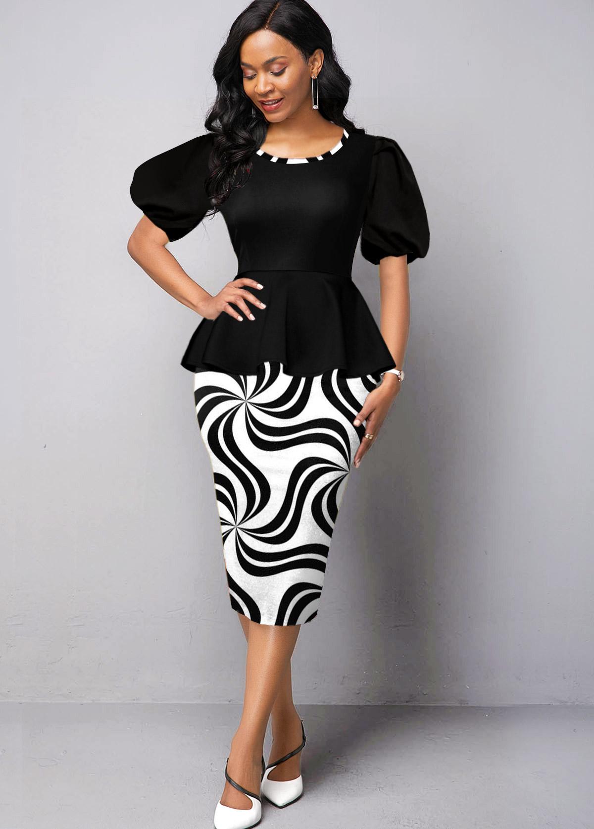 ROTITA Puff Sleeve Geometric Print Round Neck Dress