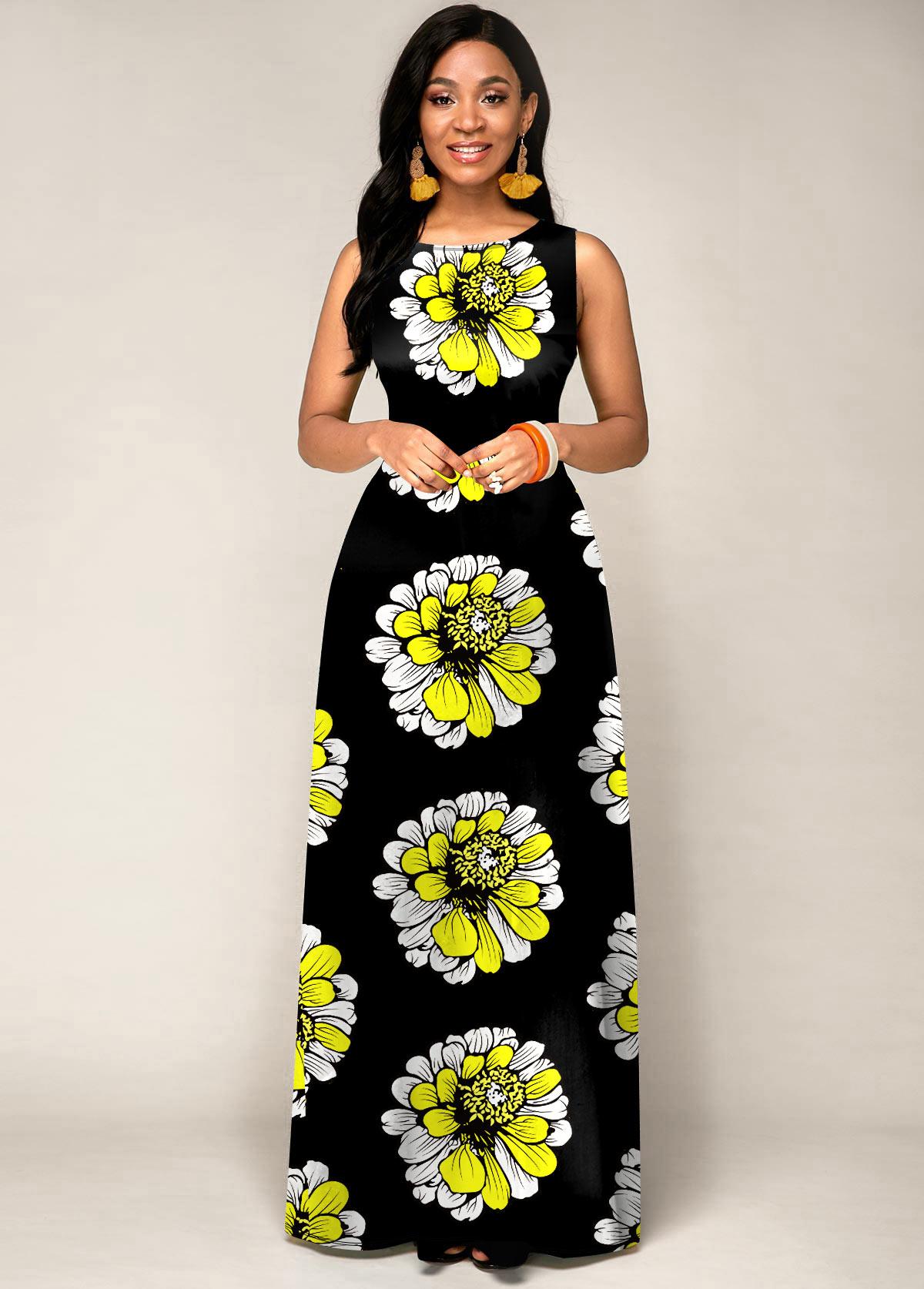 ROTITA Round Neck Tribal Print Sleeveless Maxi Dress