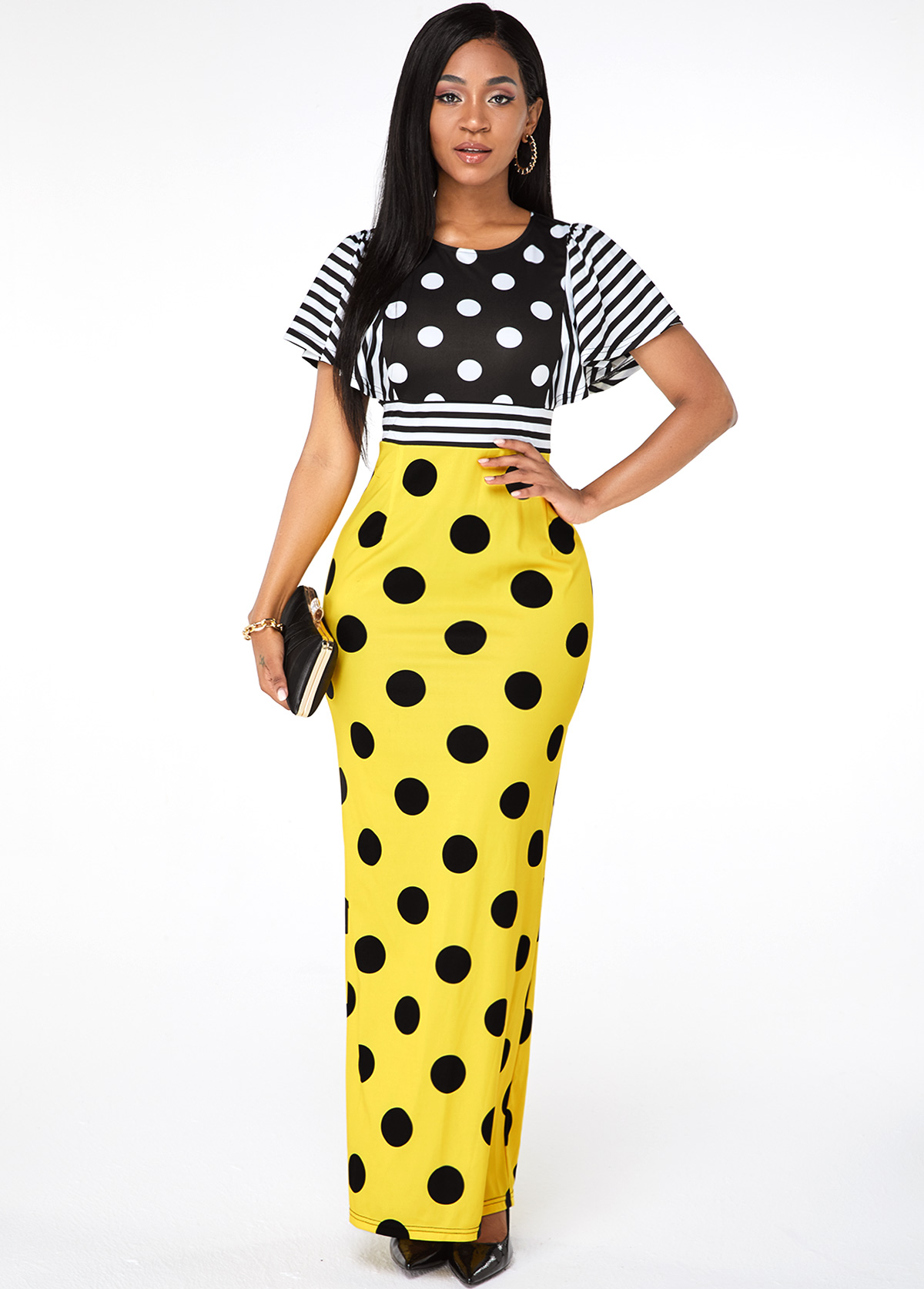 ROTITA Back Slit Short Sleeve Polka Dot Dress