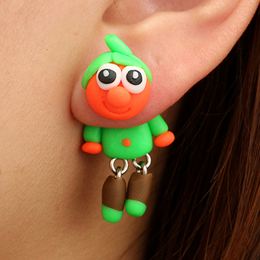 Green Halloween Pumpkin Clown Ear Studs