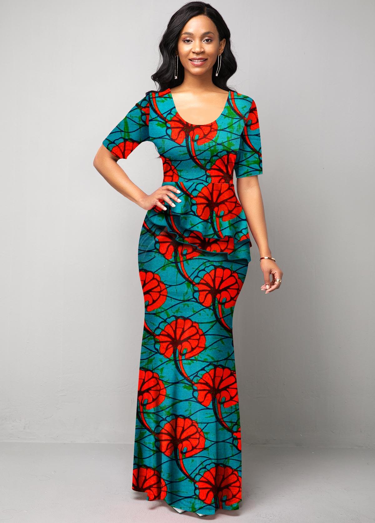 ROTITA Round Neck Tribal Print Half Sleeve Dress