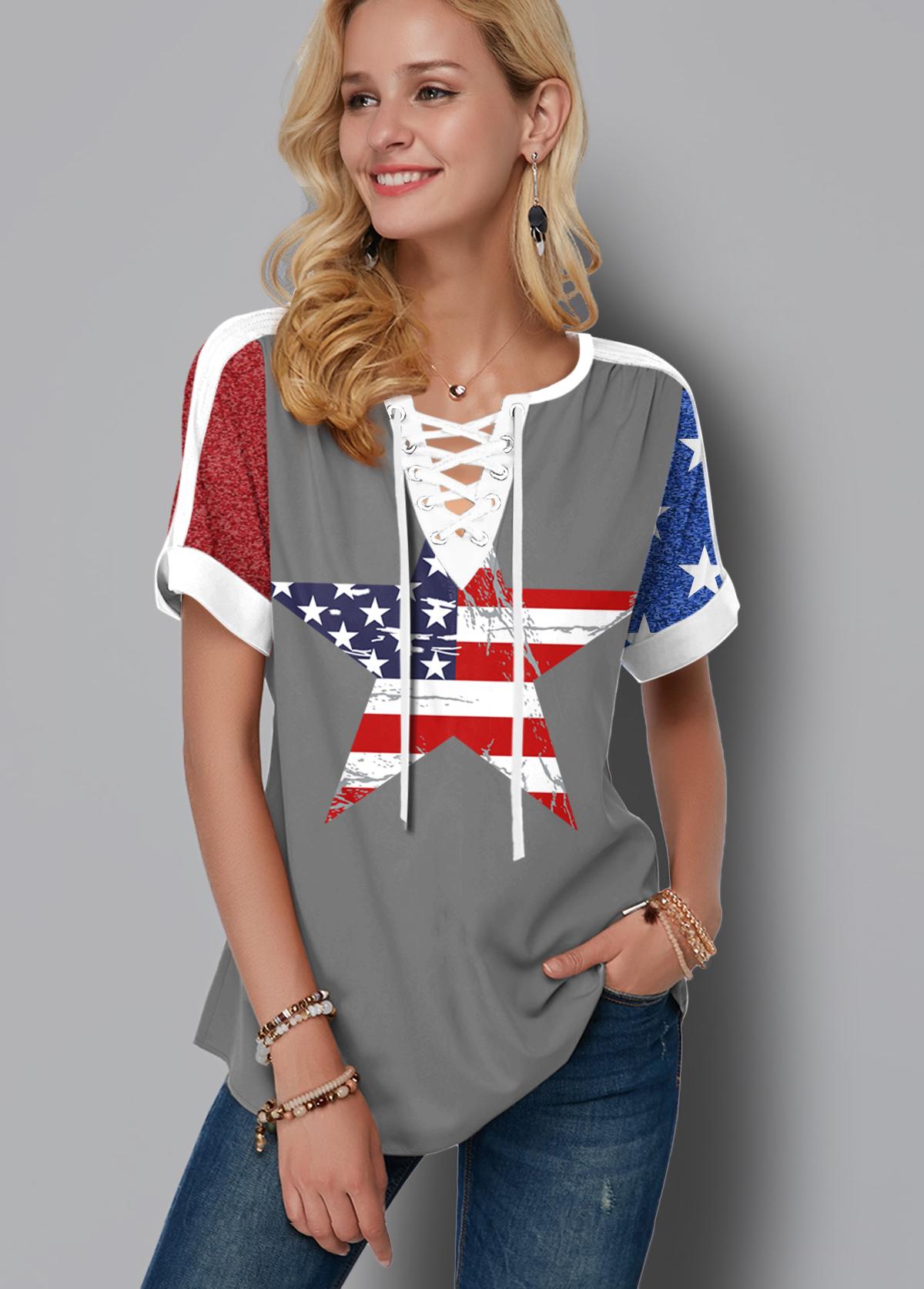 ROTITA Flag Print Short Sleeve Lace Up Blouse