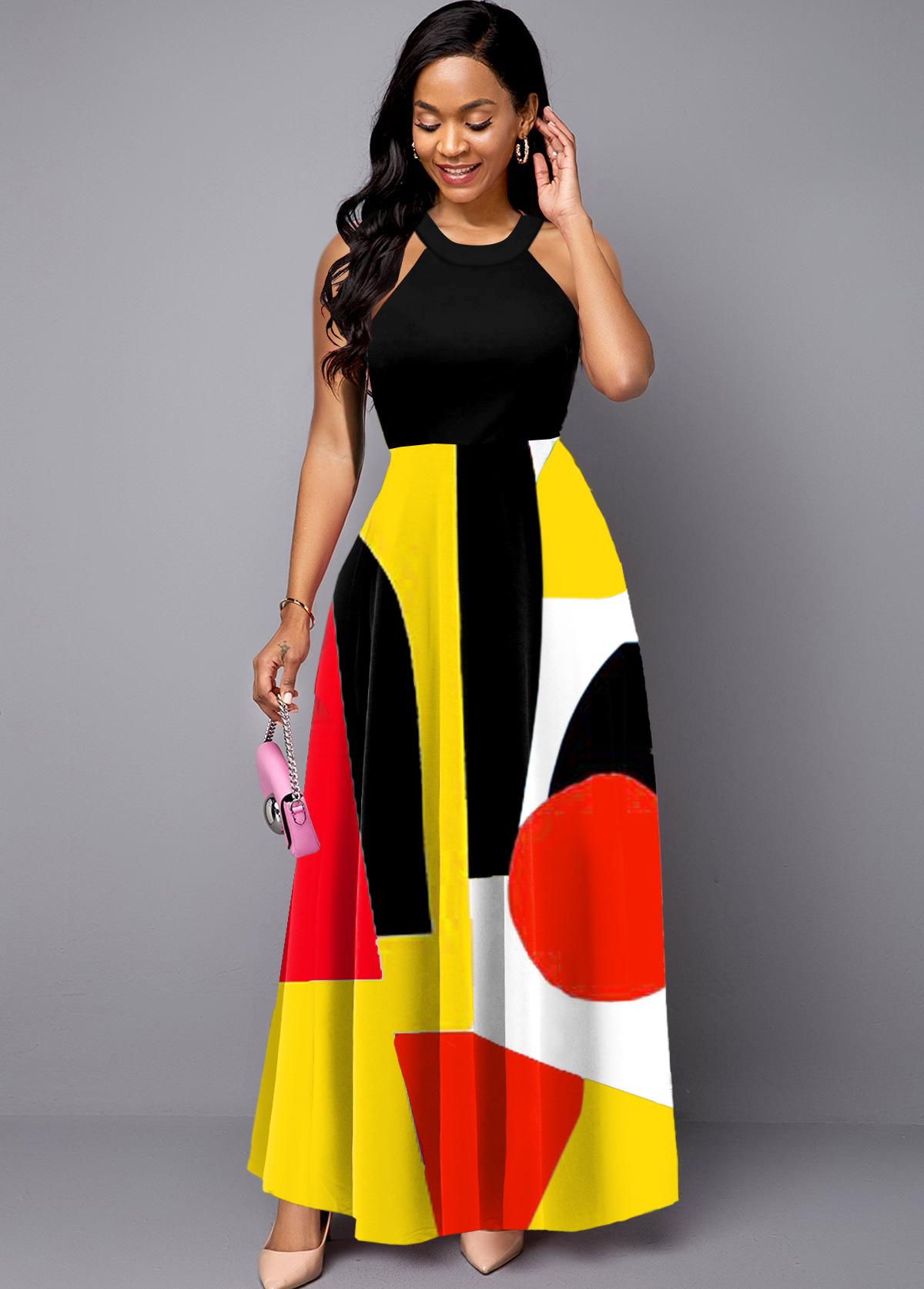 ROTITA Bib Neck Geometric Print Sleeveless Maxi Dress