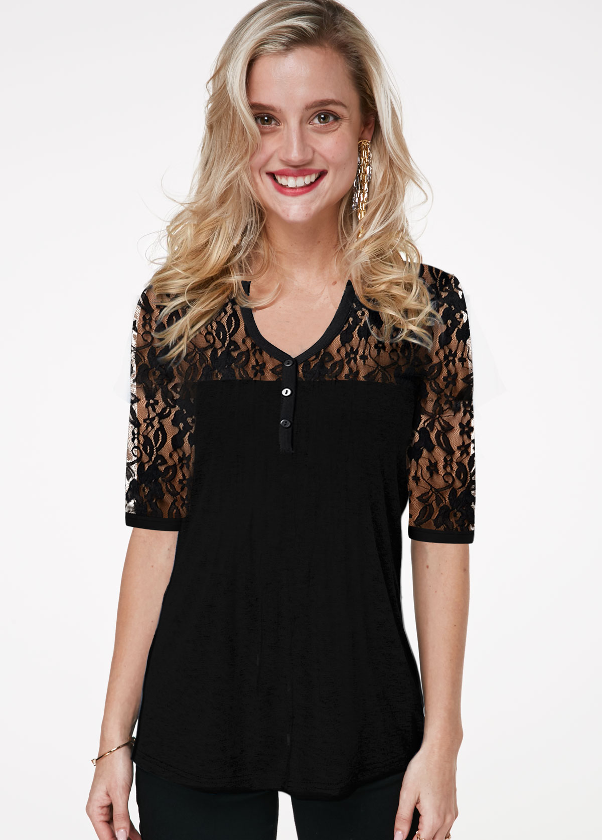 ROTITA Lace Panel Half Sleeve V Neck T Shirt