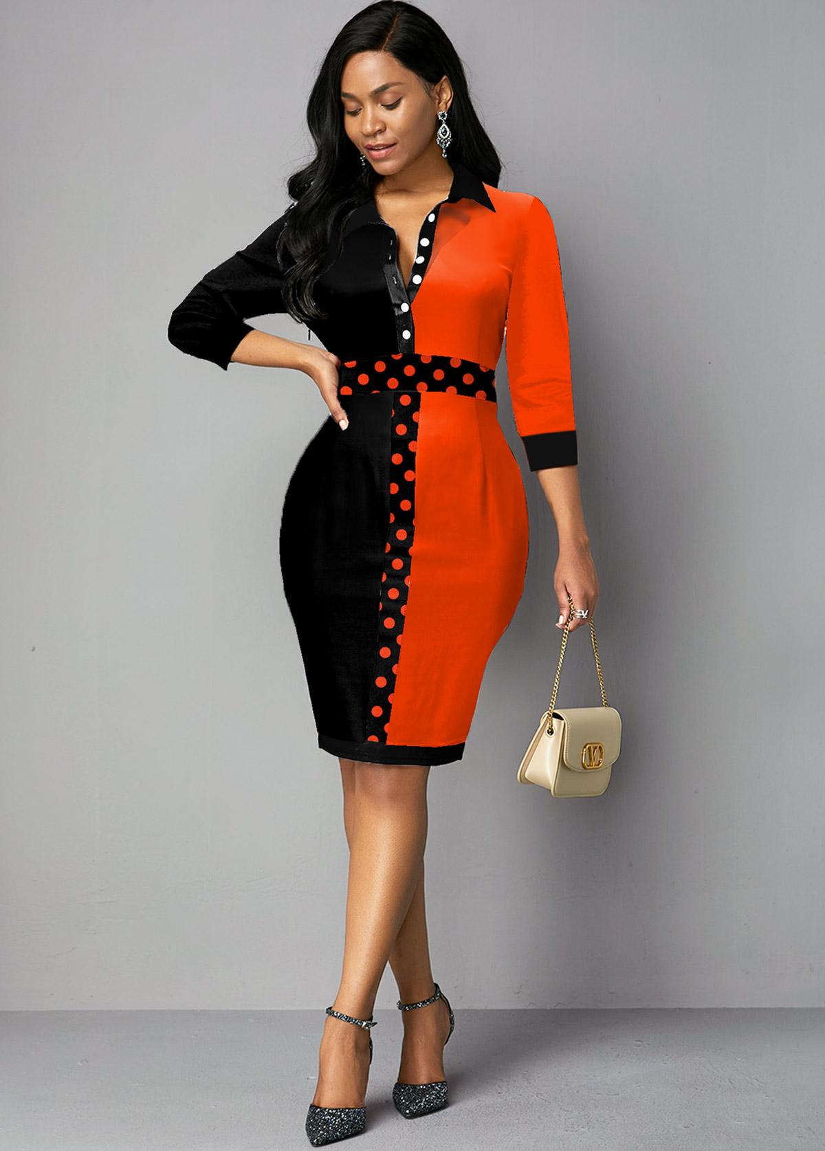 ROTITA Button Up Color Block Turndown Collar Dress