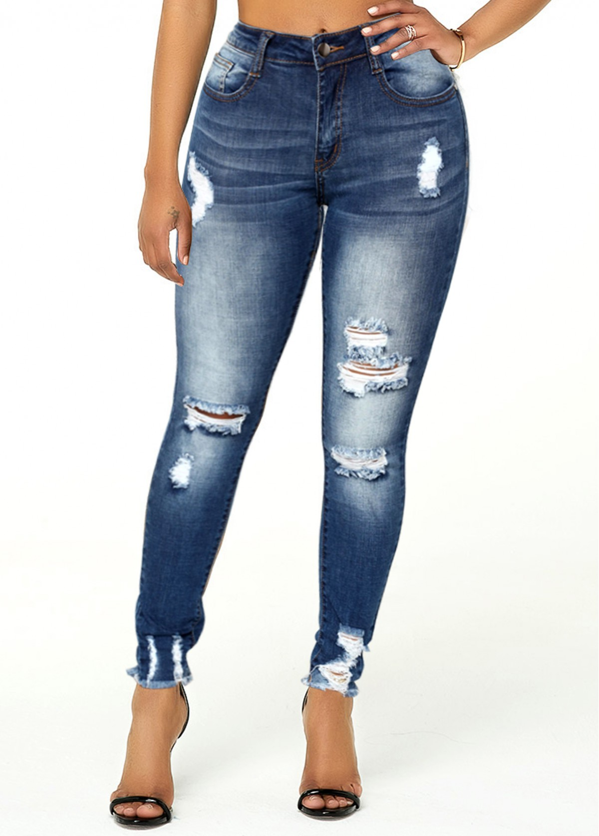 ROTITA Shredded Frayed Hem Acid Washed Jeans