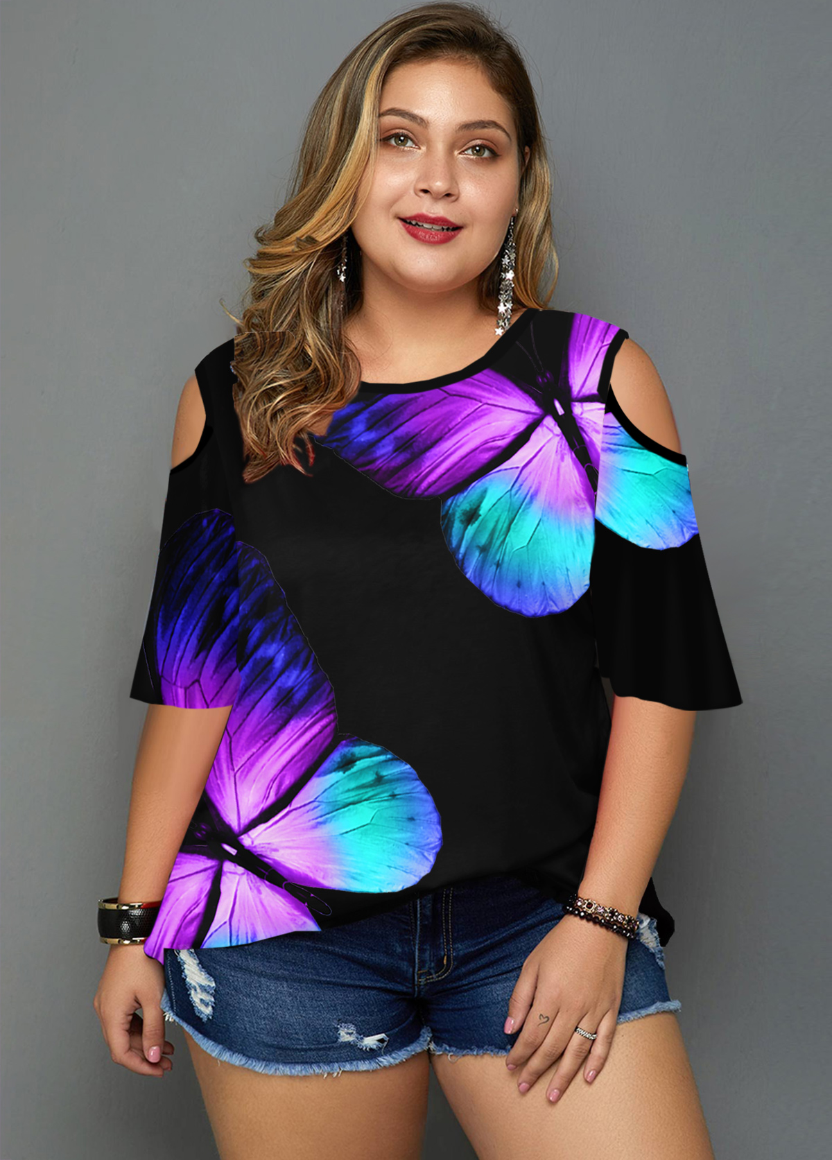 ROTITA Plus Size Cold Shoulder Butterfly Print T Shirt