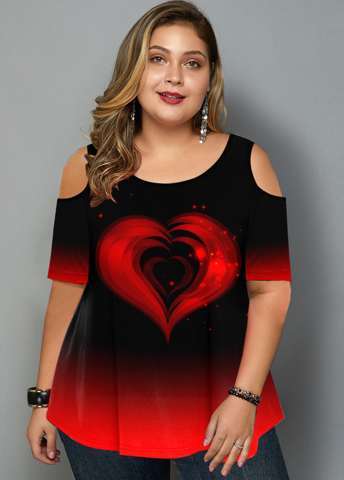 ROTITA Plus Size Ombre Heart Print Cold Shoulder T Shirt