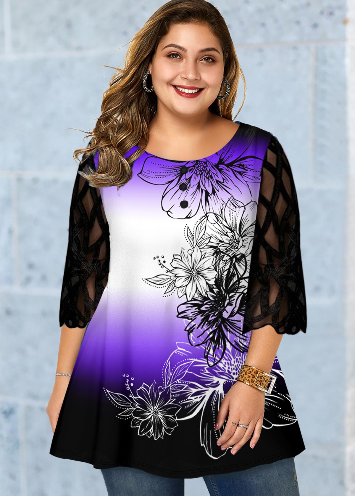 ROTITA Plus Size Mesh Panel Round Neck T Shirt