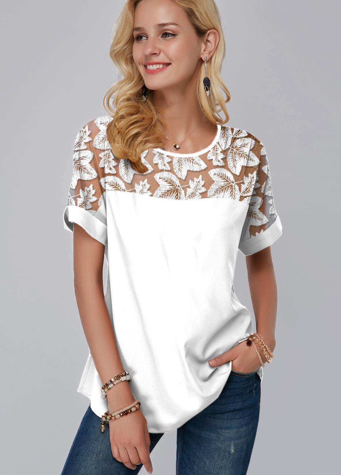 ROTITA Lace Panel Short Sleeve Round Neck T Shirt