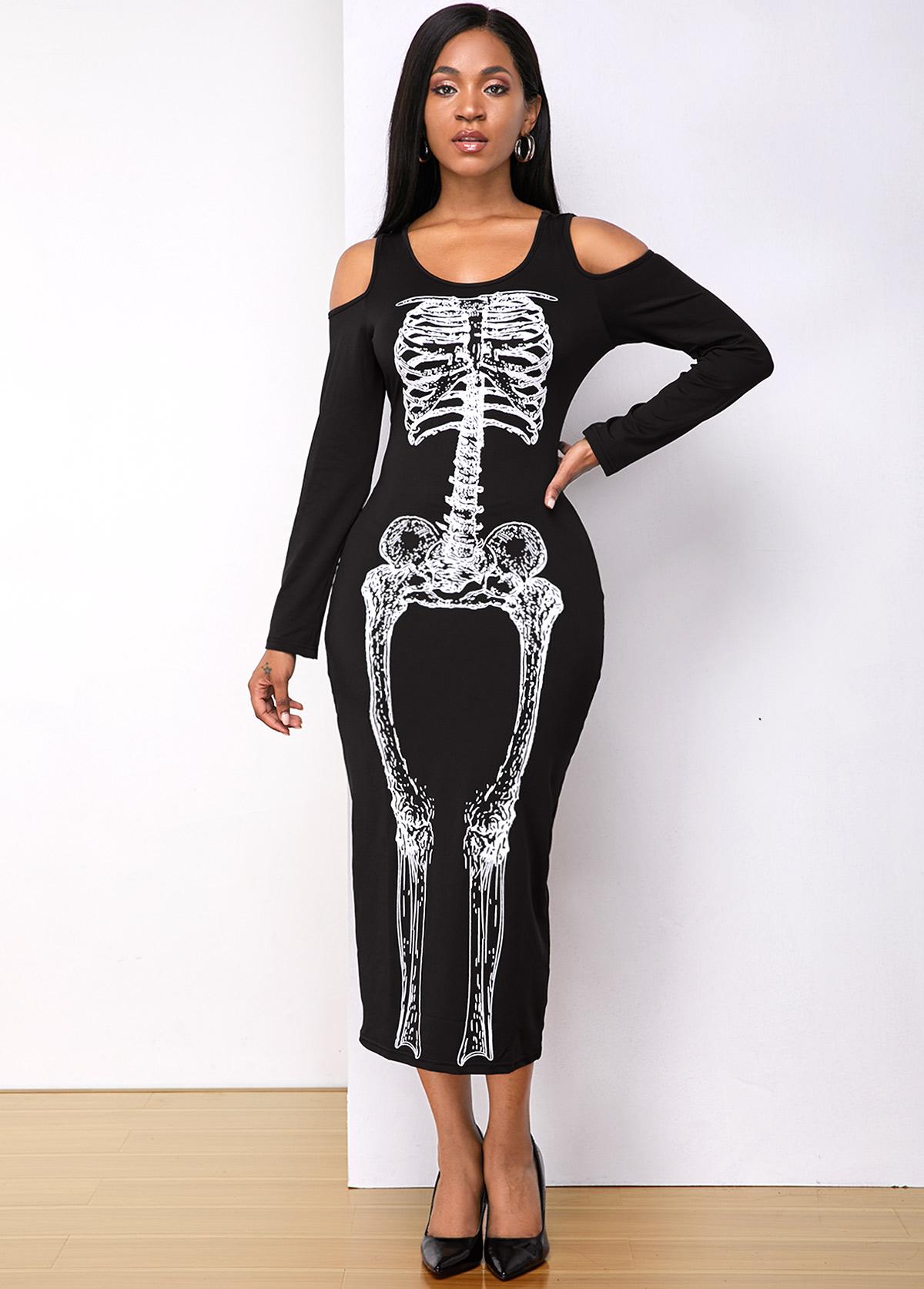 Halloween Skull Print Cold Shoulder Dress
