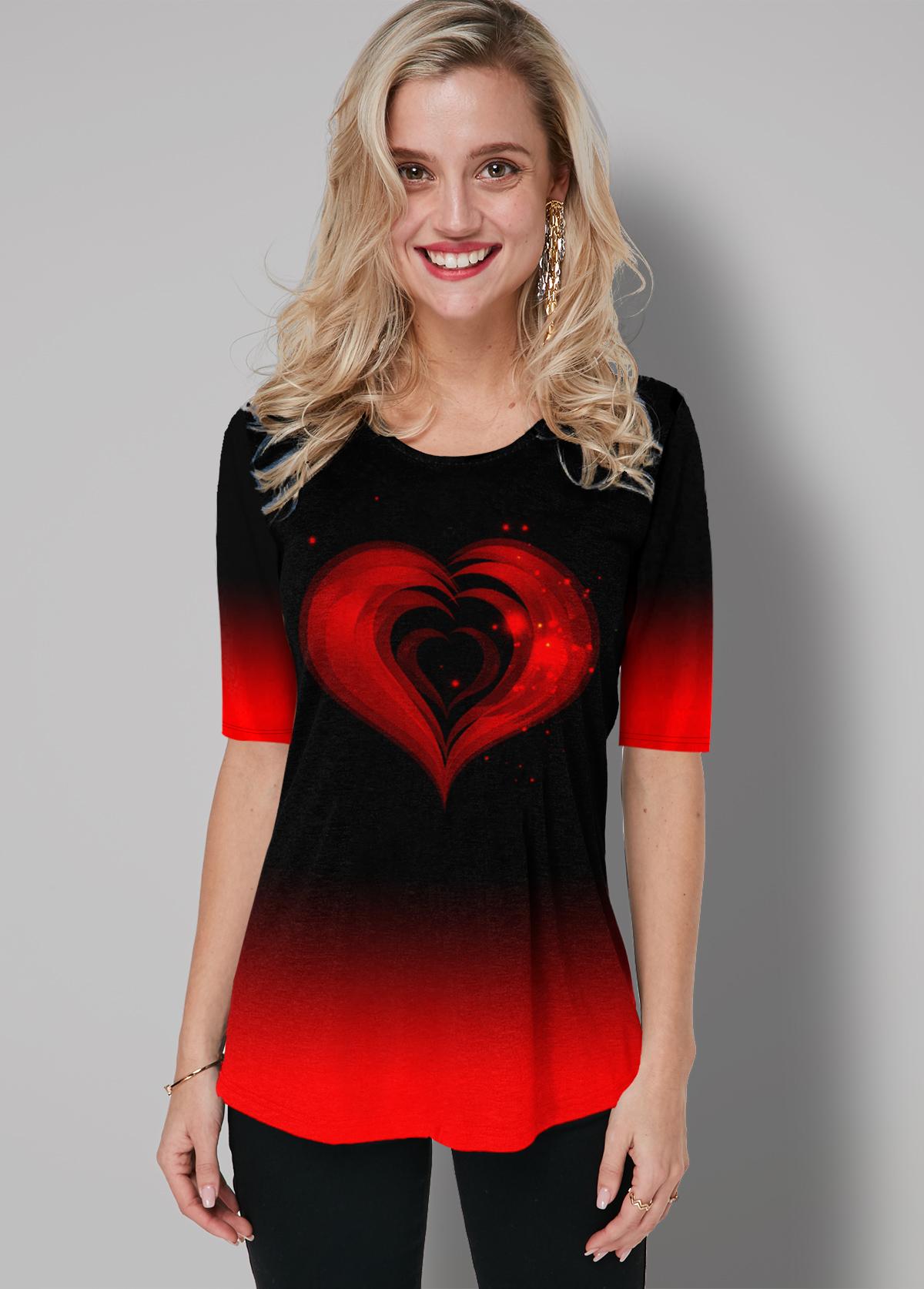 ROTITA Round Neck Ombre Heart Print T Shirt