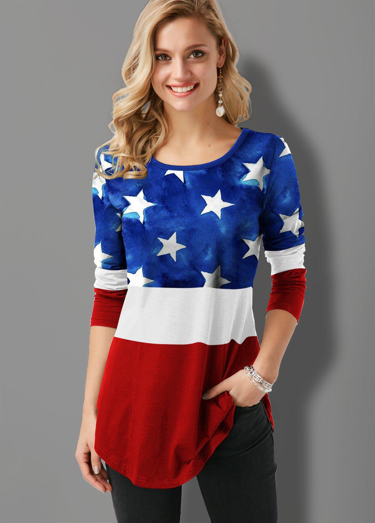 ROTITA Round Neck Flag Print Contrast T Shirt