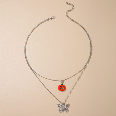 Layered Halloween Pumpkin Design Silver Metal Necklace