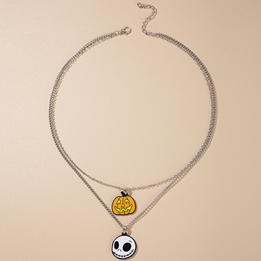 Halloween Ghost Design Silver Metal Layered Necklace