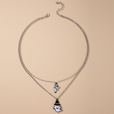 Halloween Ghost Design Silver Metal Necklace
