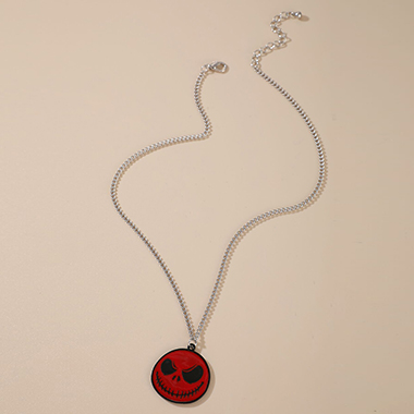 Metal Chain Halloween Design Red Necklace