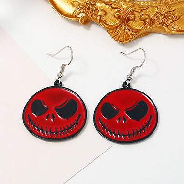 Metal Halloween Ghost Red Earring Set