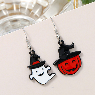 Color Block Halloween Ghost Earring Set
