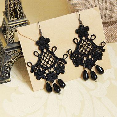 Lace Tassel Black Halloween Earring Set