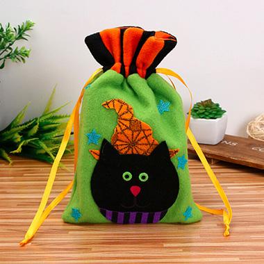 Green Drawstring Detail Halloween Candy Bag