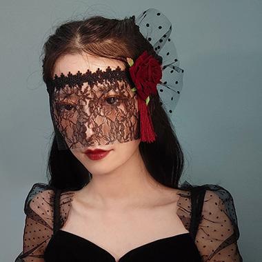 Lace Black Rose Design Halloween Eye Mask
