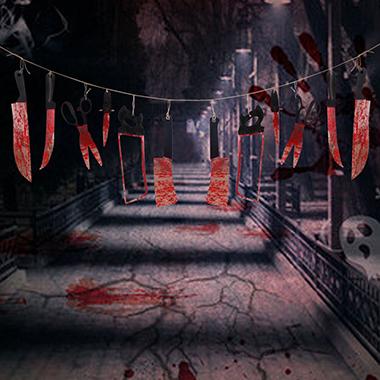 Color Block Halloween Bleeding Knife Tapestry