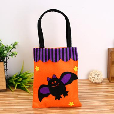 Halloween Bat Pattern Orange Tote Bag