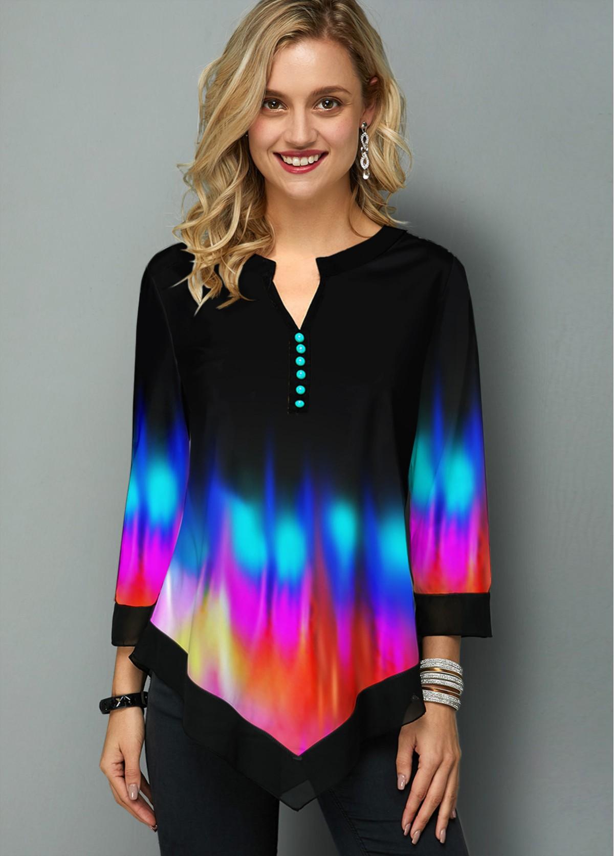 ROTITA Rainbow Color Printed Asymmetric Hem T Shirt