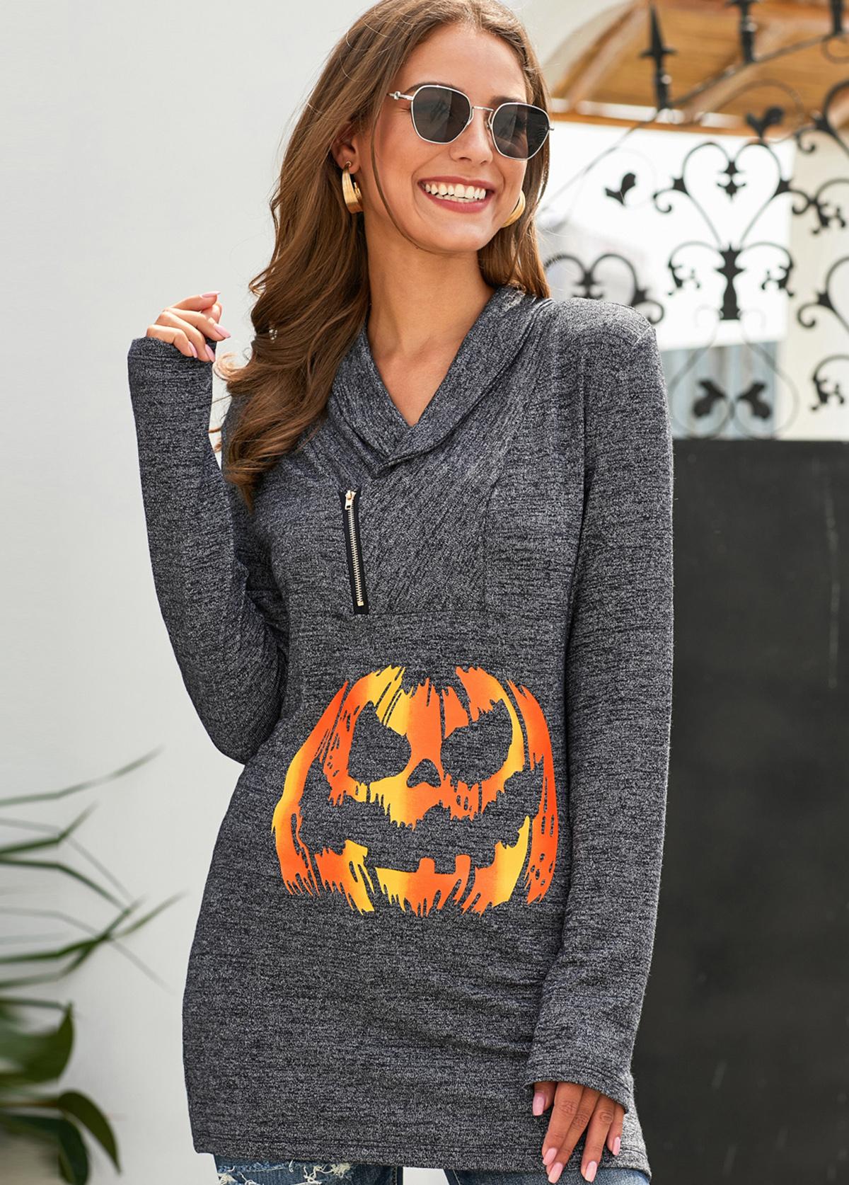 Zipper Detail Halloween Print Long Sleeve Sweatshirt