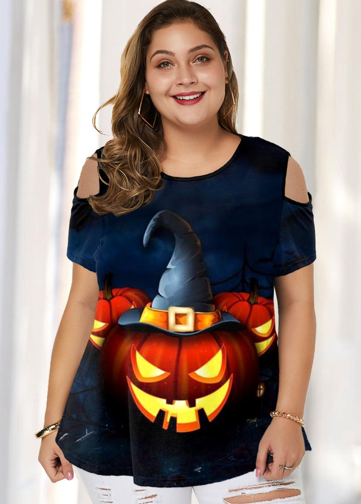 ROTITA Plus Size Cold Shoulder Halloween Print T Shirt
