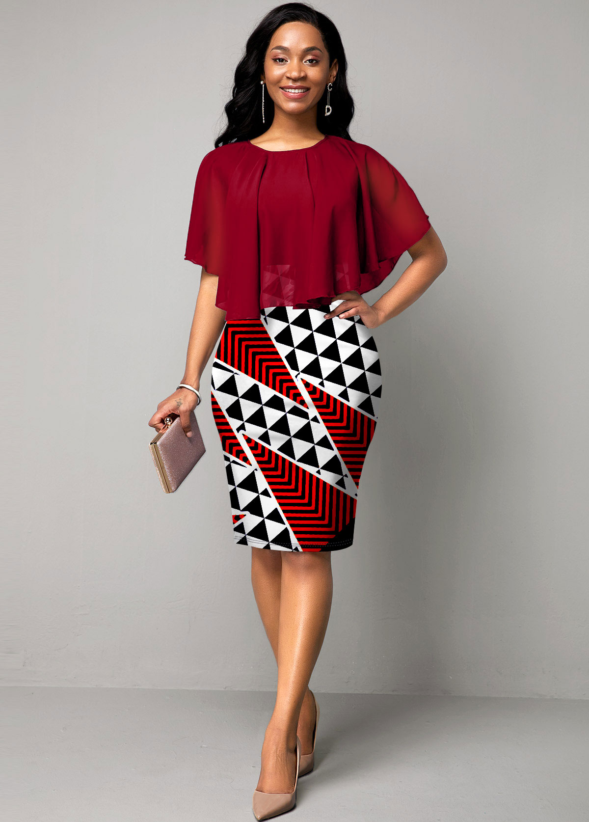ROTITA Chiffon Overlay Round Neck Geometric Print Dress