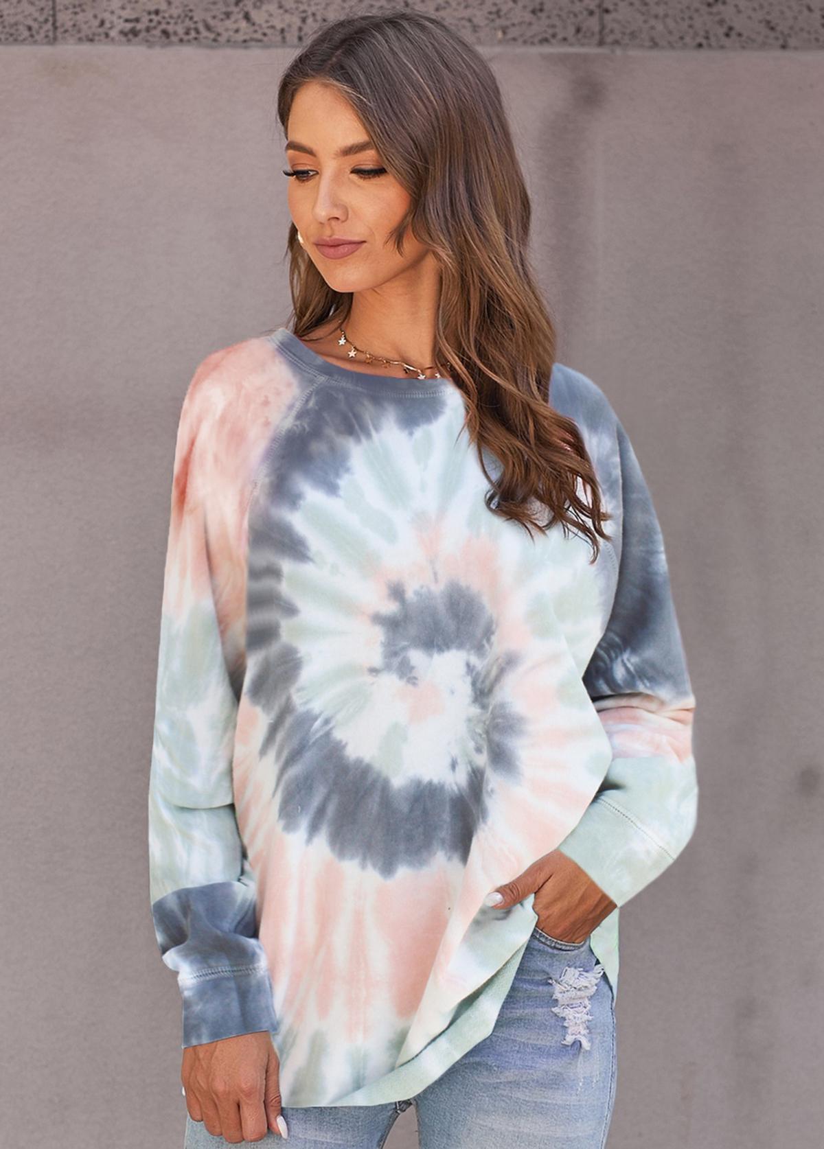 Round Neck Long Sleeve Tie Dye Print Sweatshirt