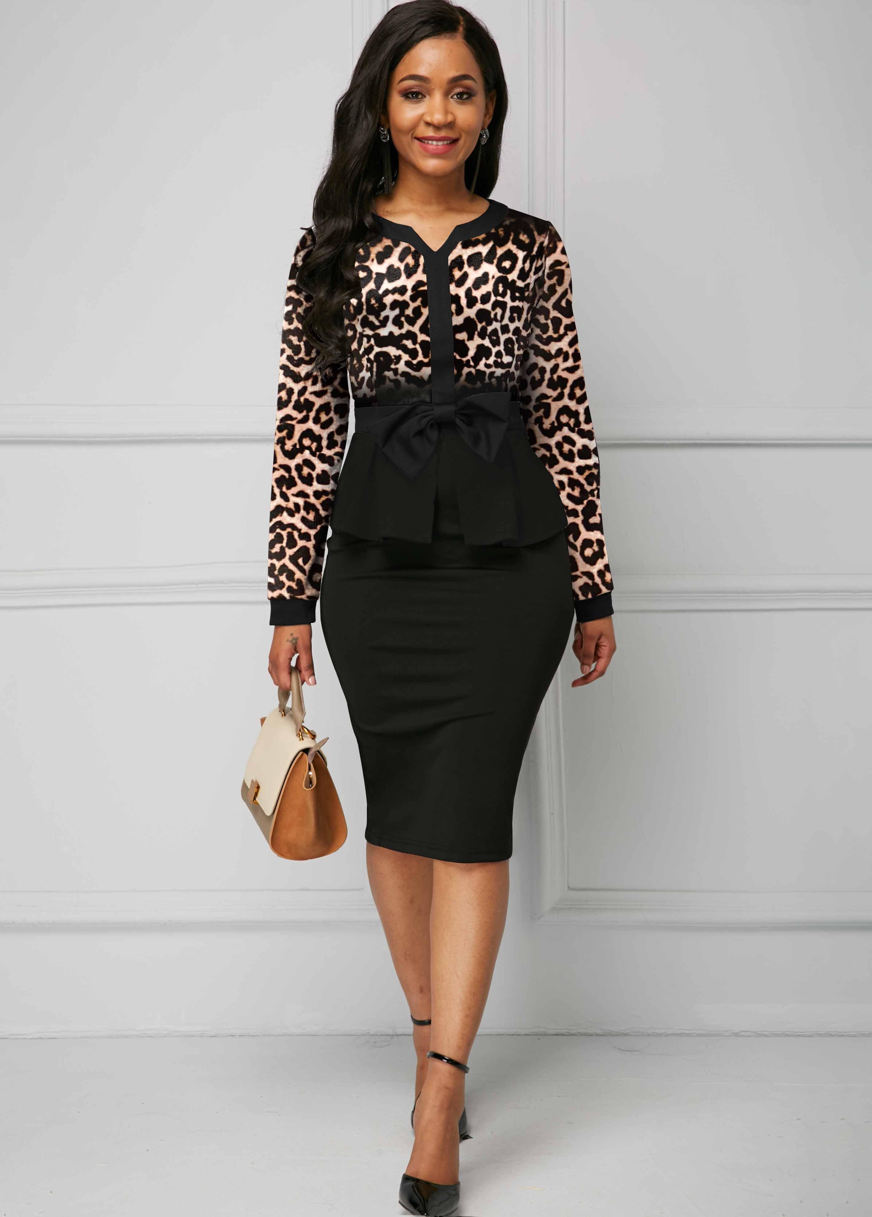 ROTITA Turndown Collar Leopard Print Long Sleeve Dress