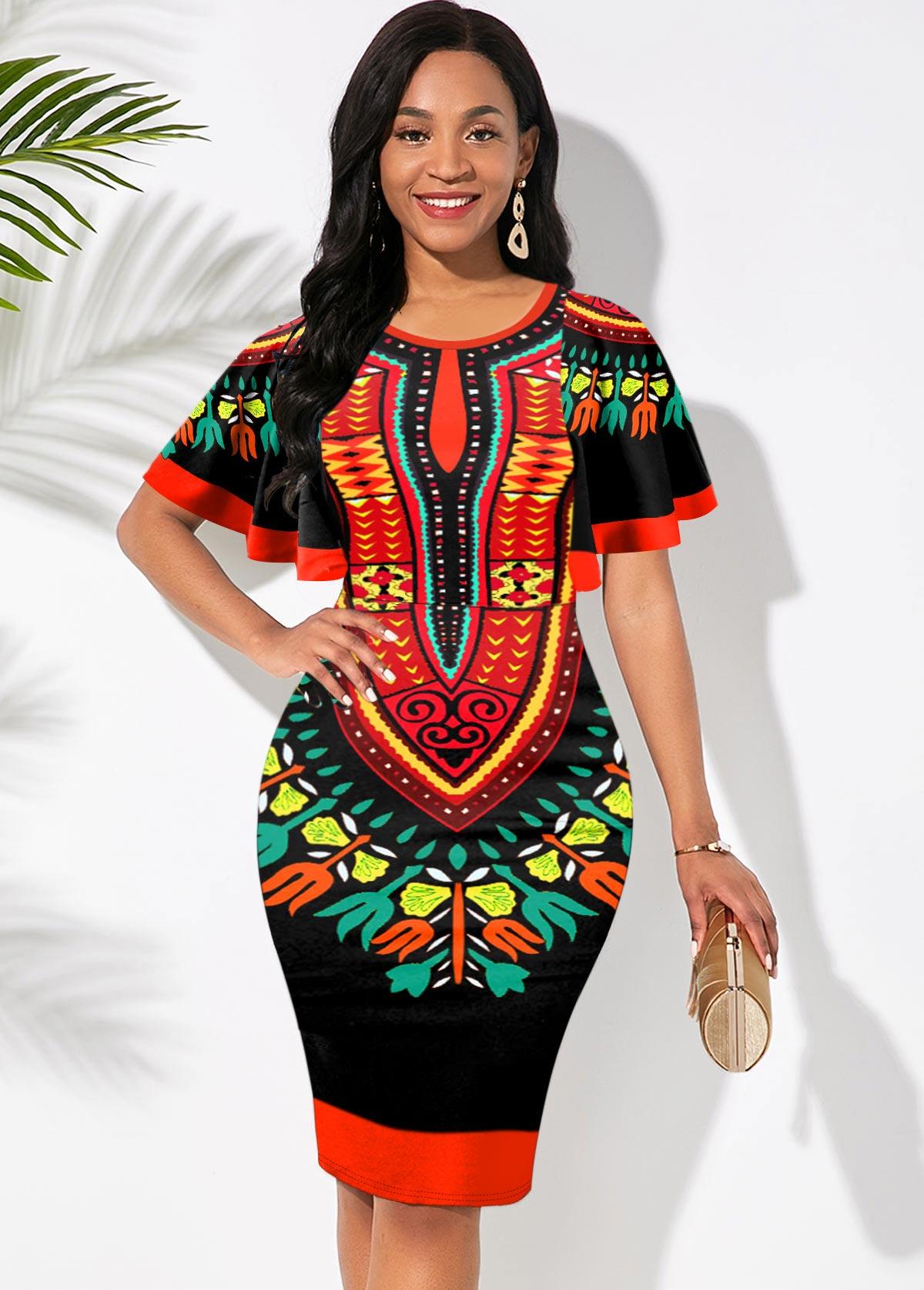 ROTITA Round Neck Short Sleeve Tribal Print Dress