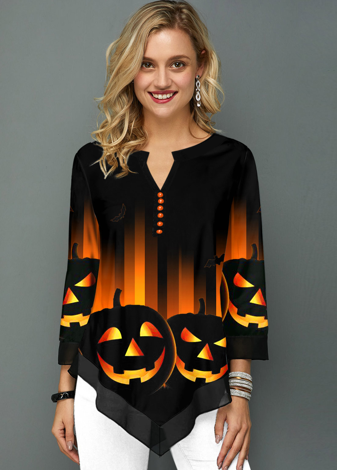 ROTITA Halloween Print Split Neck Asymmetric Hem Blouse