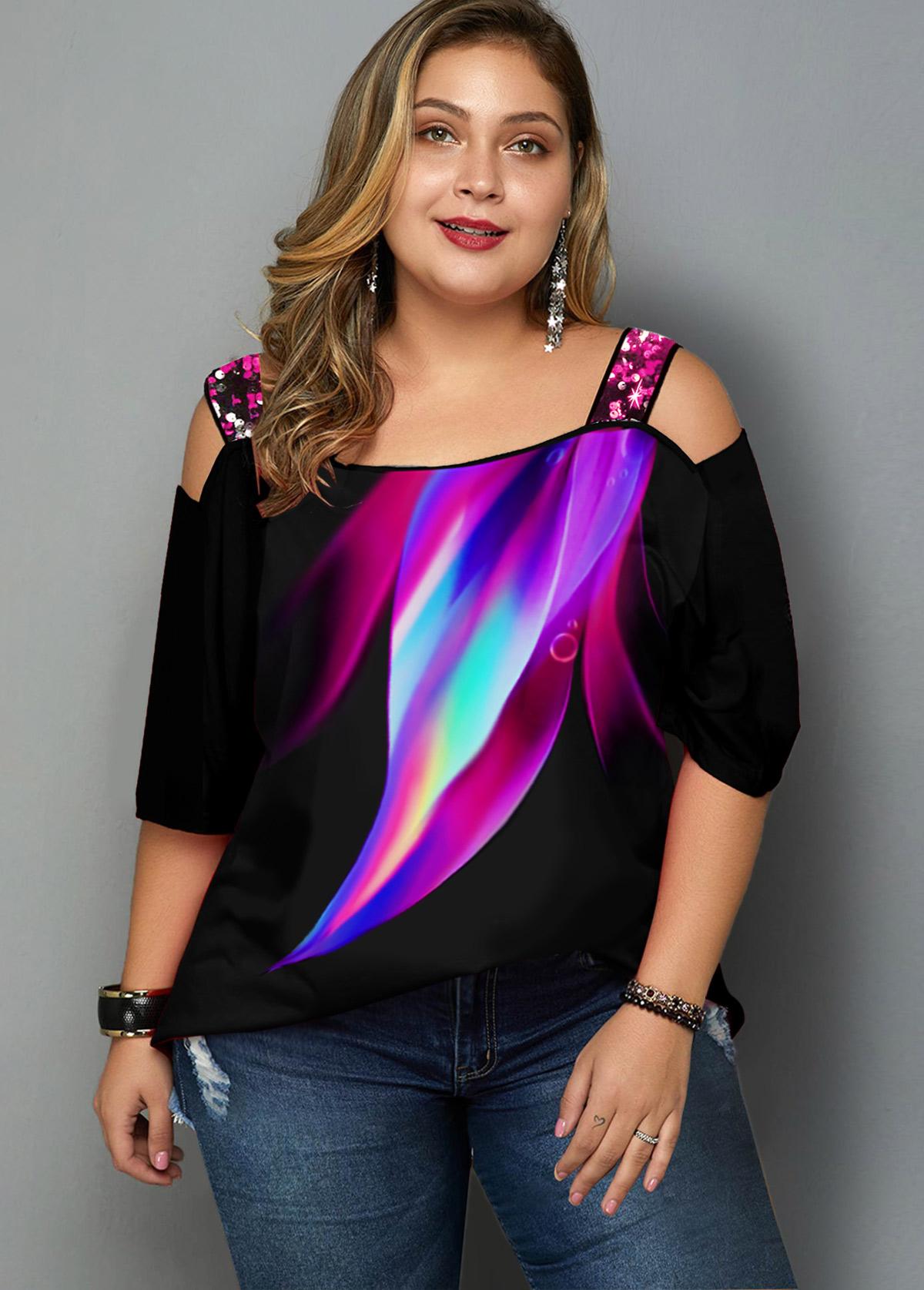 ROTITA Plus Size Rainbow Print Cold Shoulder T Shirt