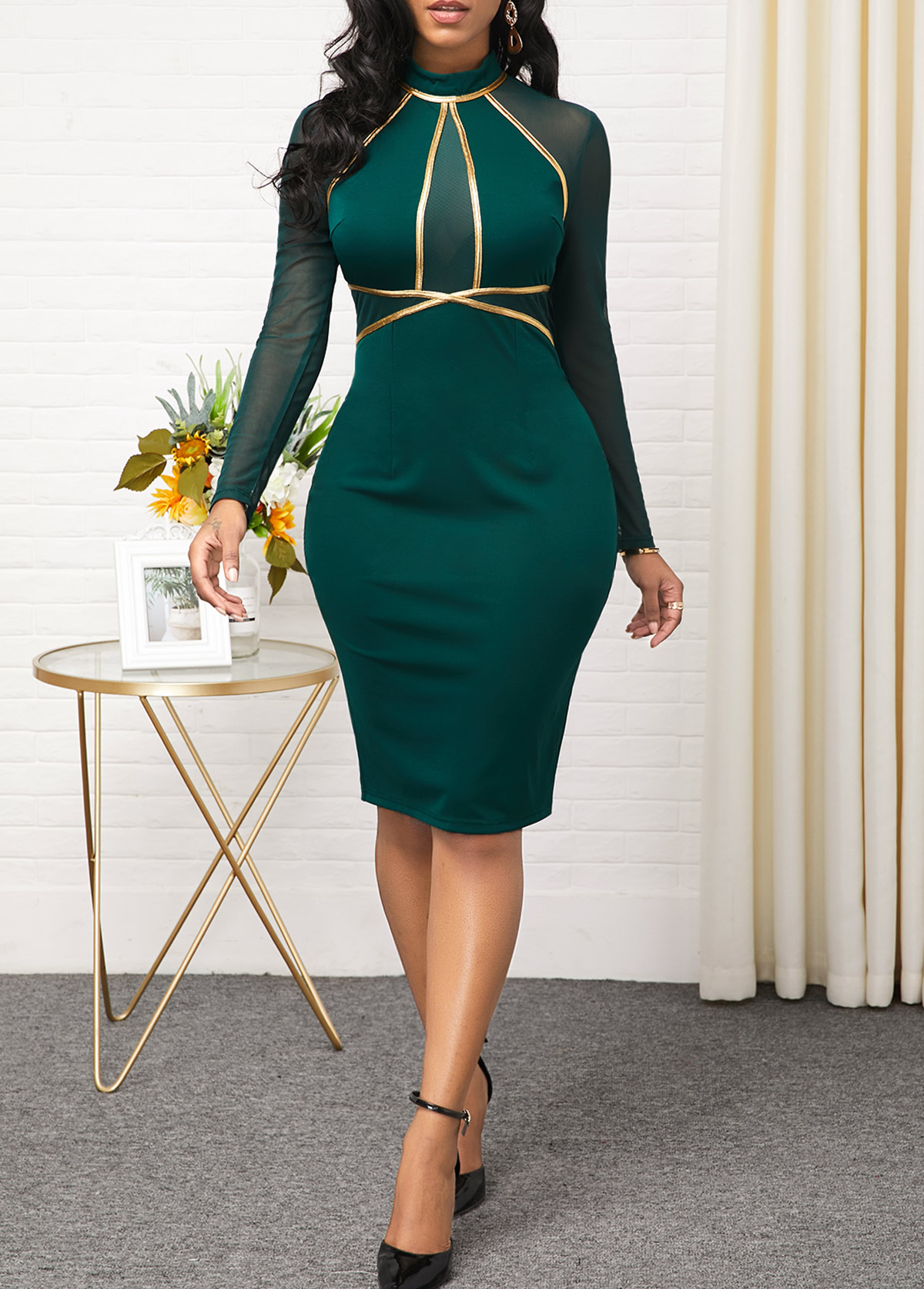 ROTITA Long Sleeve Mesh Panel Contrast Dress