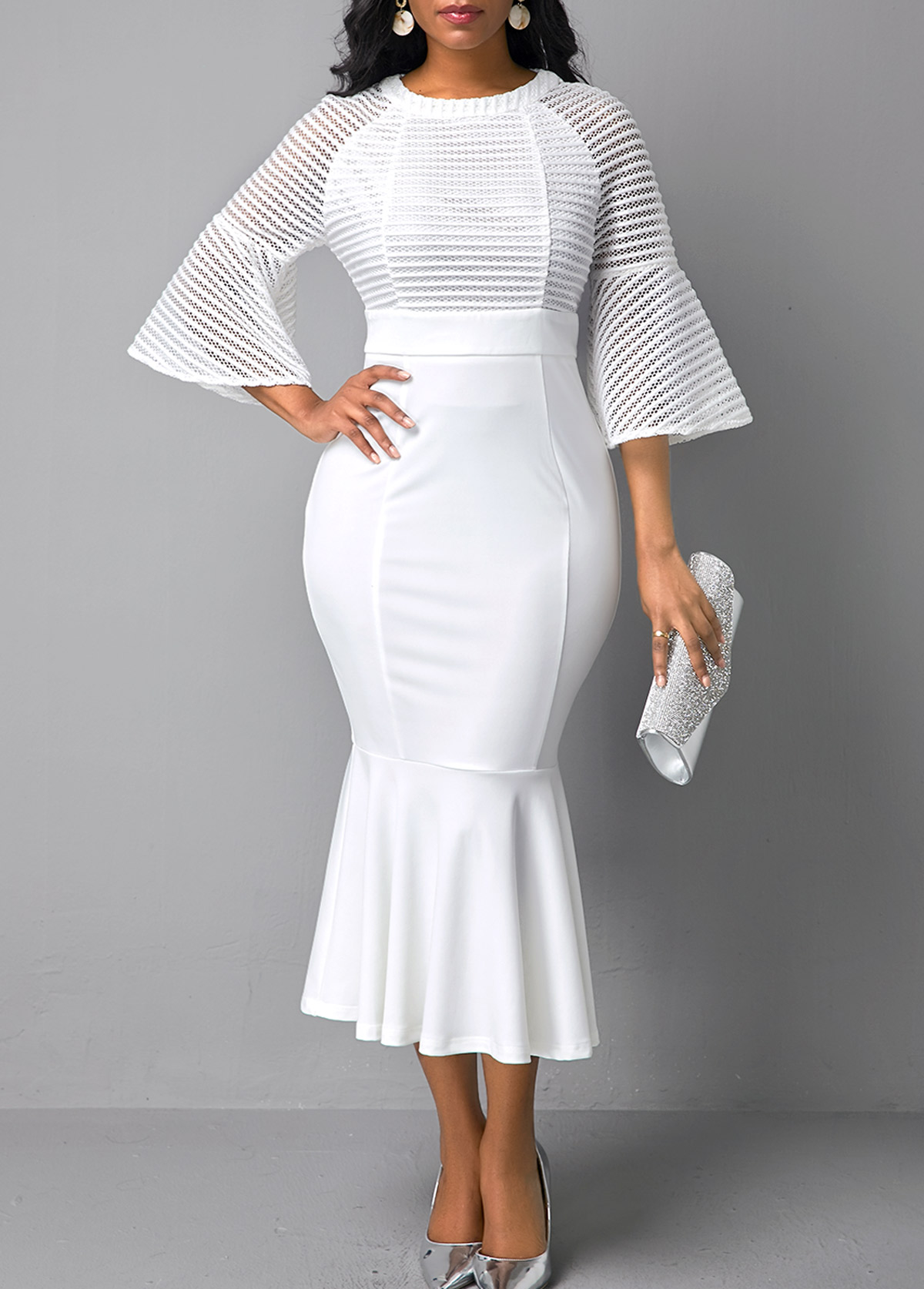 ROTITA Flare Sleeve Round Neck Mesh Panel Mermaid Dress