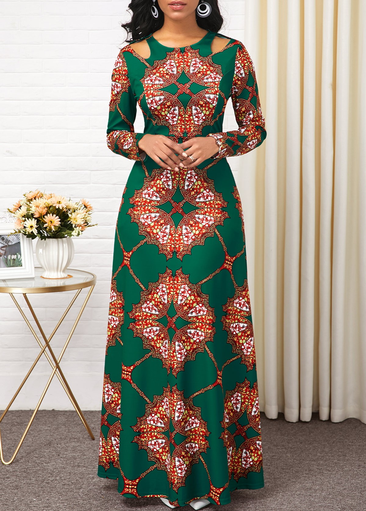 ROTITA Tribal Print Cold Shoulder Maxi Dress