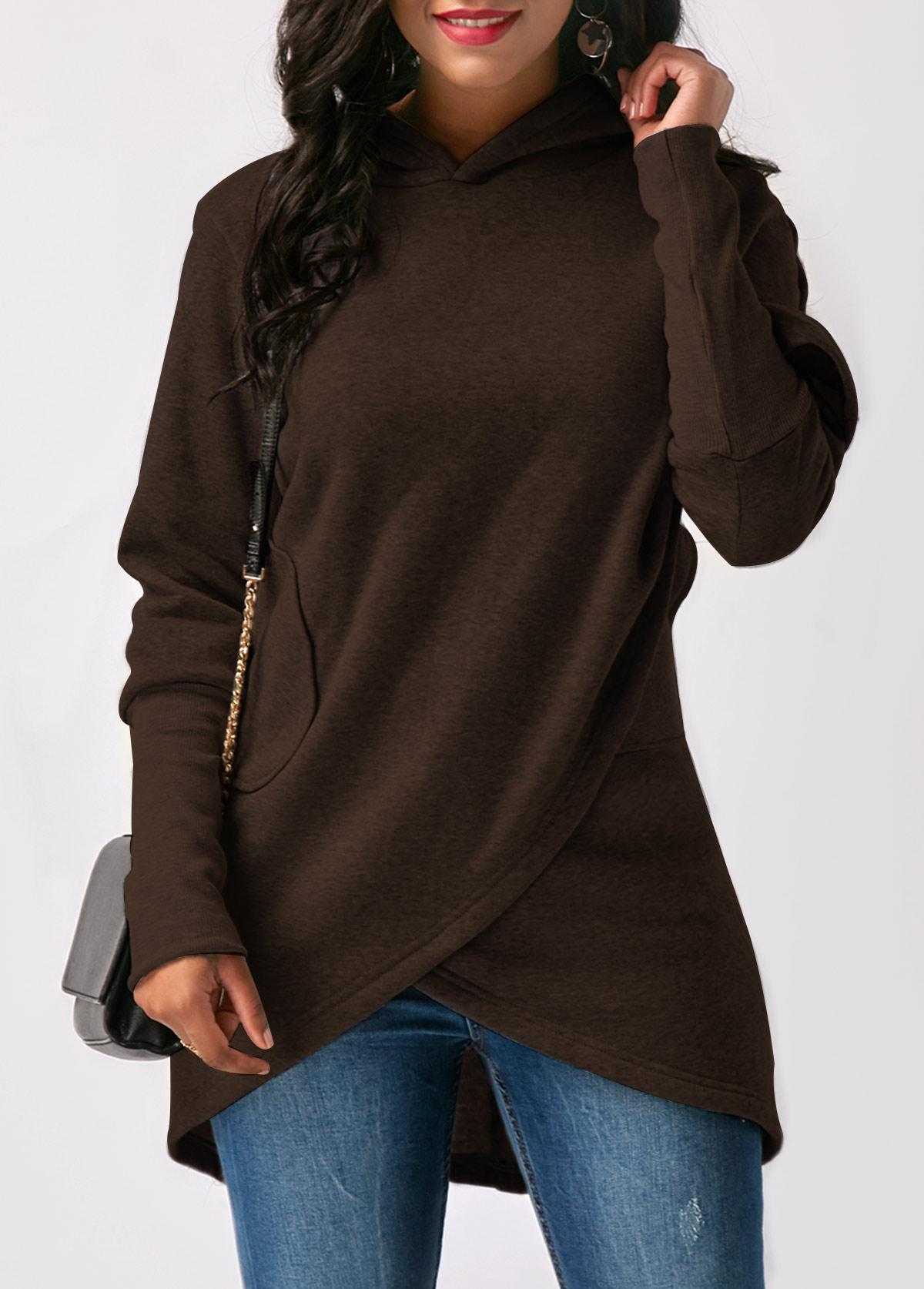 ROTITA Asymmetric Hem Long Sleeve Pocket Hoodie