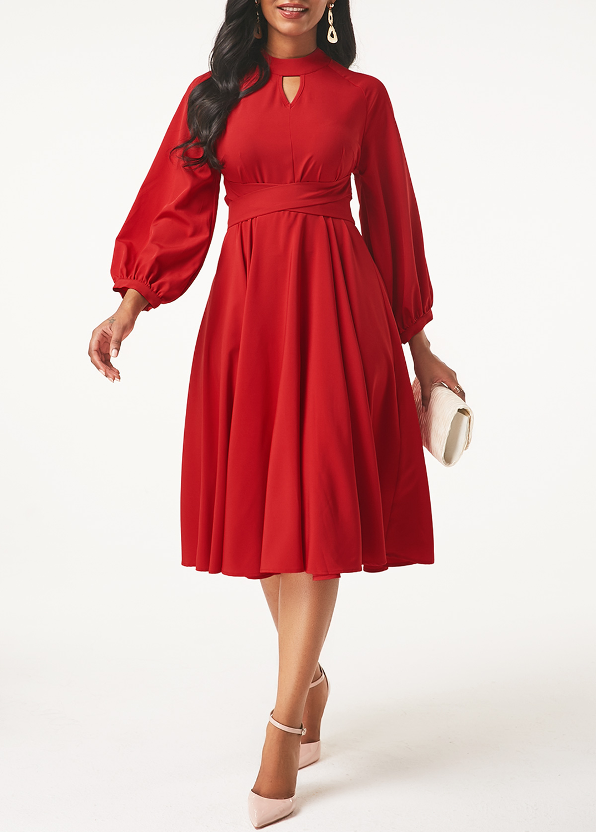 ROTITA Keyhole Neckline Lantern Sleeve Red Dress
