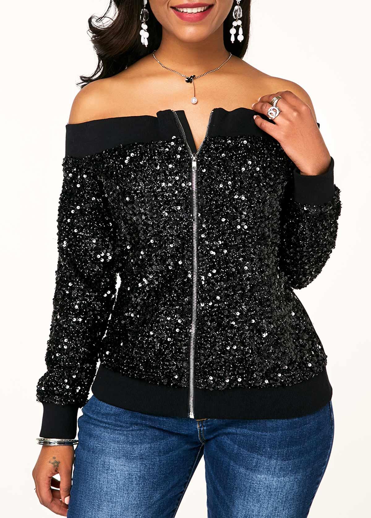 ROTITA Zipper Closure Sequin Off Shoulder Jacket
