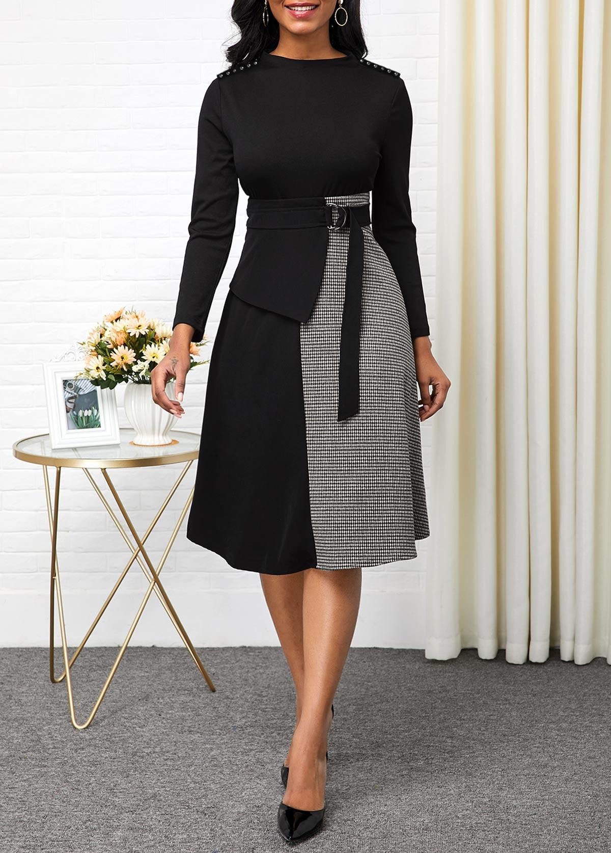 ROTITA Contrast Long Sleeve Buckle Detail Dress