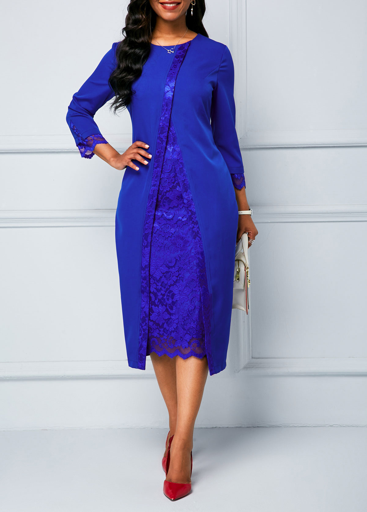 ROTITA Lace Panel Three Quarter Sleeve Dress