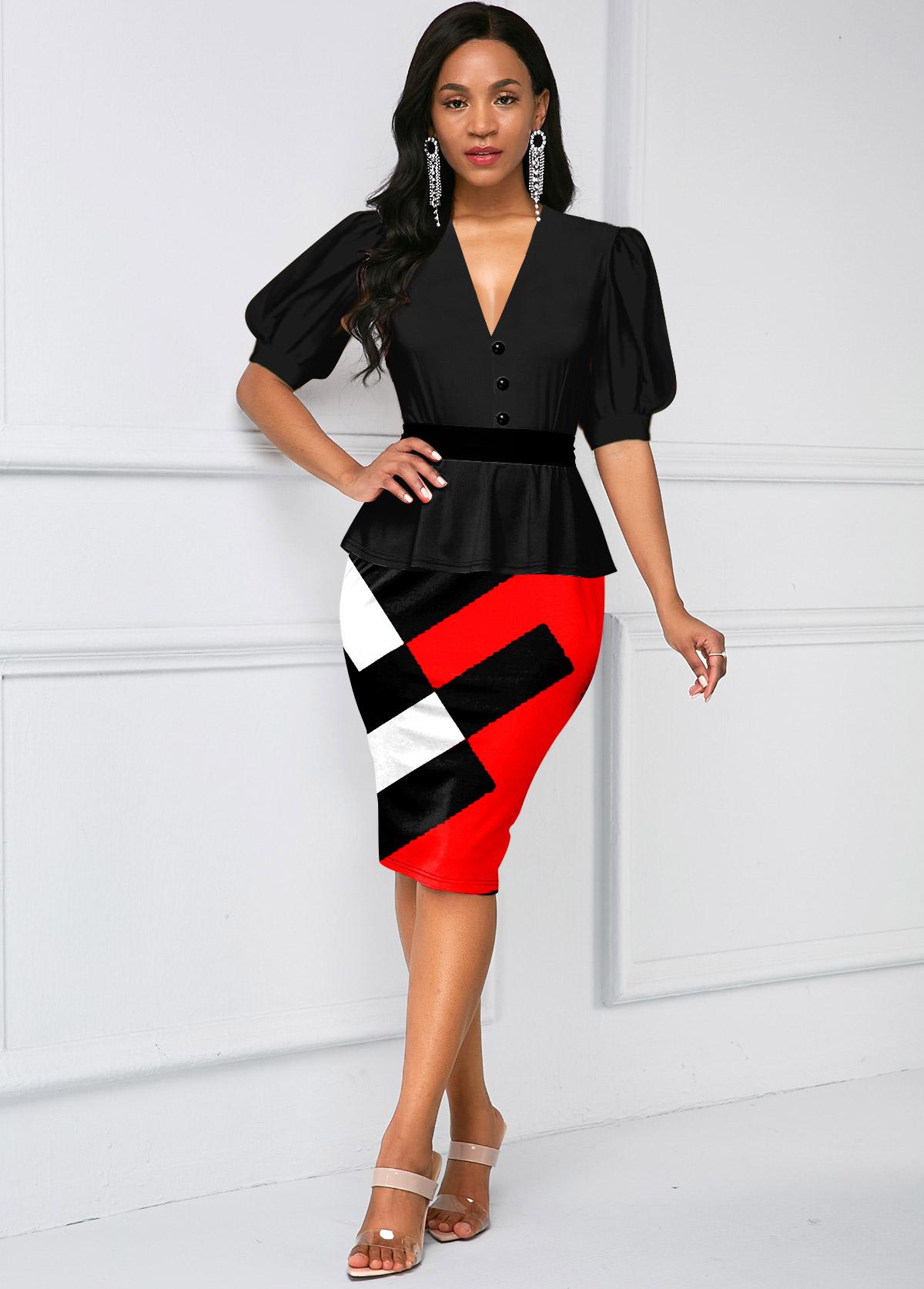 ROTITA V Neck Puff Sleeve Contrast Dress