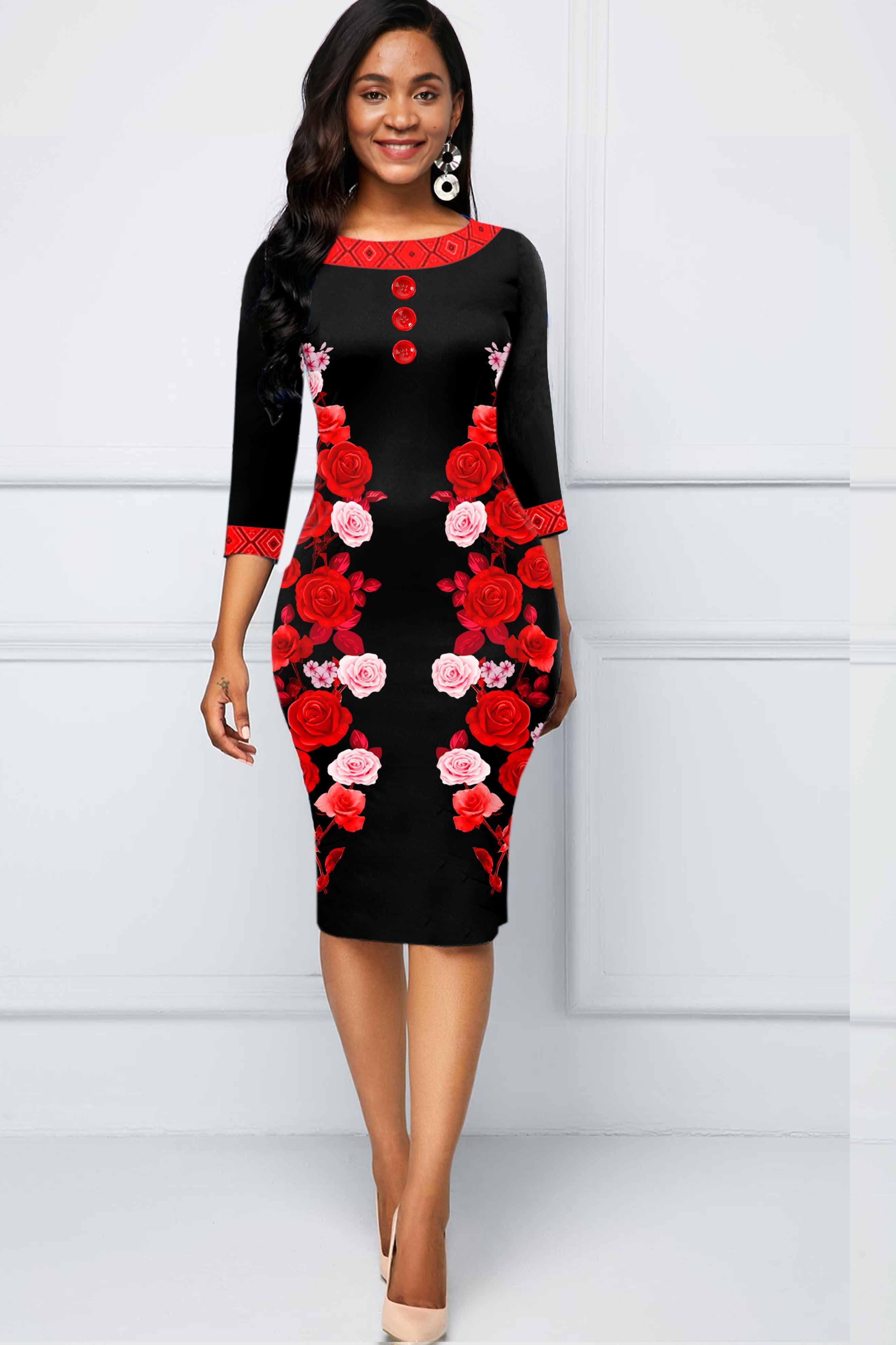 ROTITA Round Neck Three Quarter Sleeve Floral Print Dress